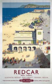 Redcar, North Yorkshire, Vintage Railway Travel Poster Print